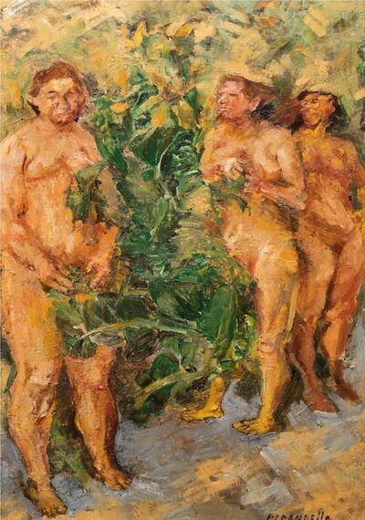 Fausto Pirandello, 'Figure in the woods', 1944