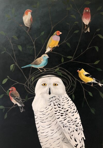 """Leslie Barron, '""""Snowy Owl with Finches"""" Mixed Media painting of an owl on black background', 2019"""