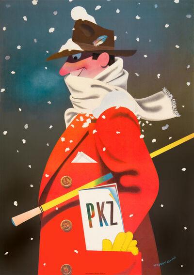 Herbert Leupin, 'PKZ Menswear - Red Overcoat - Snow', 1942