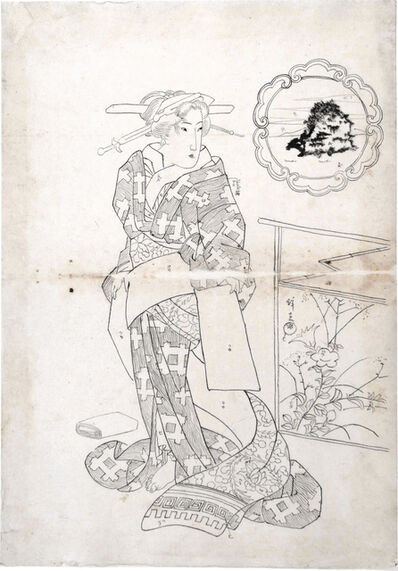 Keisai Eisen, 'Preparatory Drawing for print 'Beauties of Five Islands: Chikubu Island'', ca. late 1820s
