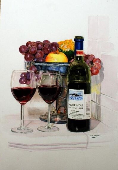 Ingeborg Haeberle, 'autumn wine at fireplace', 2012