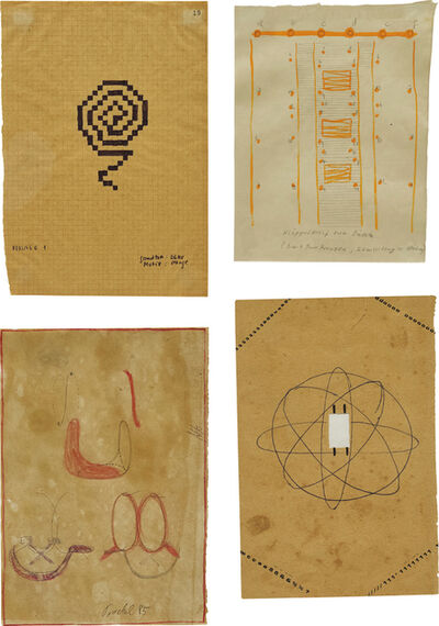 Rosemarie Trockel, 'Four works: (i) Untitled; (ii) abcdef; (iii) Untitled; (iv) Vorlage 1', (i) 1985, (ii, iv) 1986.