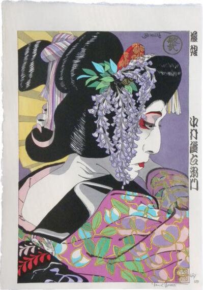 Paul Binnie, 'Large-head Kabuki Portraits: Nakamura Jakuemon as the Wisteria Maiden', ca. February-March 1997