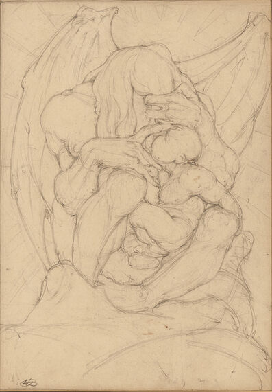 Hyman Bloom, 'Two Drawings: Winged Creature with Child and Boxing Match'