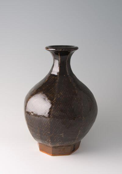 Tatsuzo Shimaoka, 'Vase, rope and slip inlay with Tenmoku glaze'