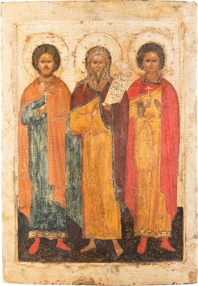Icon, 'Prophet Elias flanked by St Florus and St Laurus', 16th century