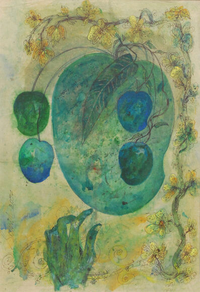 Sunil Das, 'Mother & Child II by Artist Sunil Das, Mixed media in Green and Blue', 2007