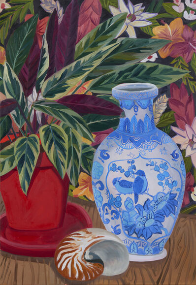 Anna Valdez, 'Blue Bird Vase with Calathea', 2019