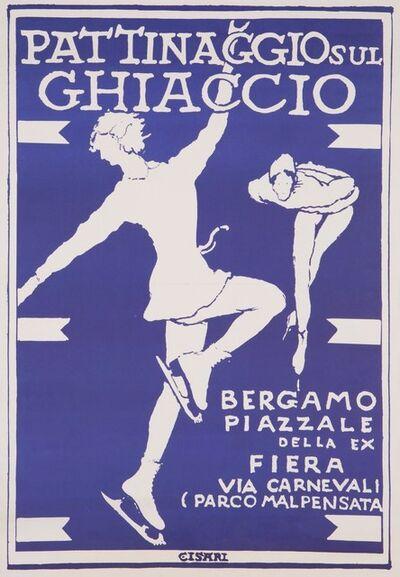 Giulio Cisari, 'PATTINAGGIO SUL GHIACCIO / BERGAMO PIAZZALE DELLA EX FIERA', ca 1955
