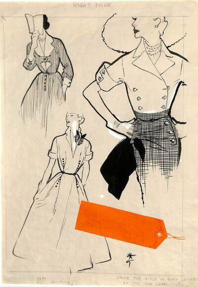 René Gruau, 'Projet de mode, robes et tailleur'