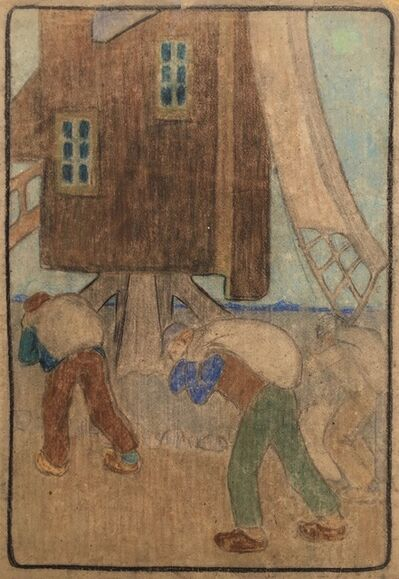 B. J. O. Nordfeldt, 'WINDMILL AND WORKERS (Large Pastel)', ca. 1900