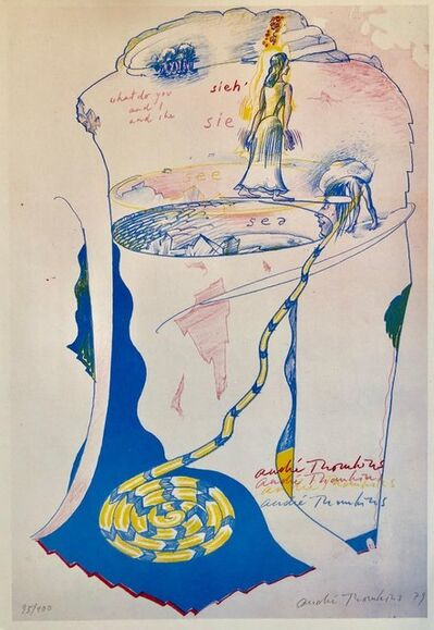 Andre Thomkins, '1970s Modernist Swiss Colorful Surrealism Signed Dada Lithograph Andre Thomkins', 1970-1979