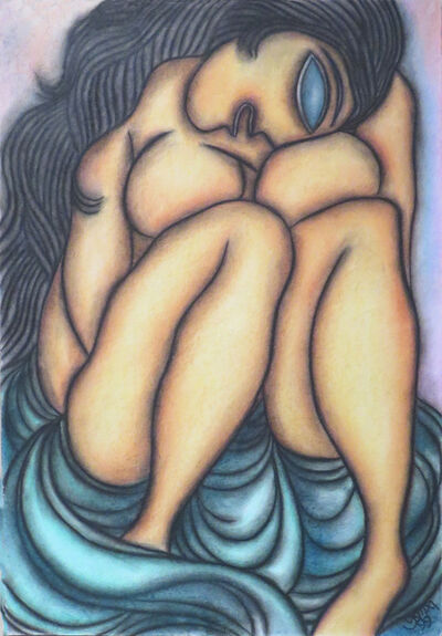 Prokash Karmakar, 'Large eye, long hair, Nude Woman in blue saree, Pastel on paper, figurative by Indian Artist Prakash Karmakar', 1999