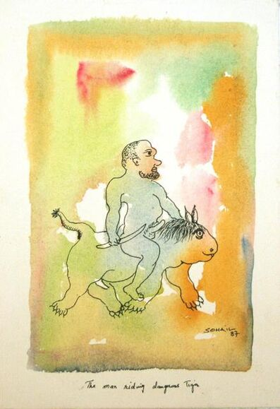 Tasaduq Sohail, 'The man riding dangerous tiger', 1987