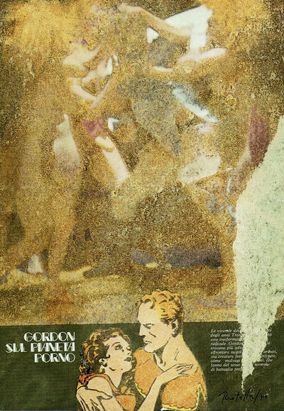 Mimmo Rotella, 'Gordon sul pianeta porno', 1976