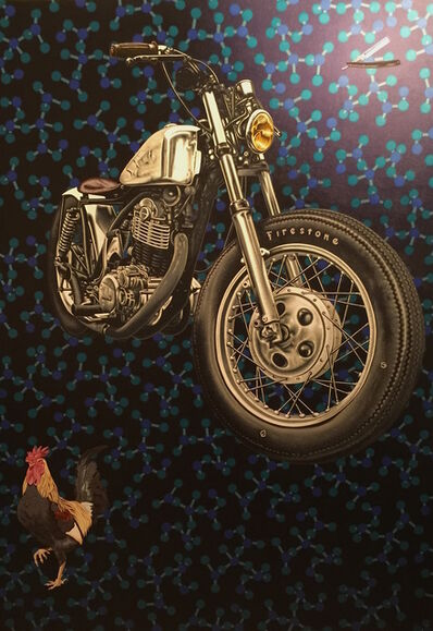 Stephen Hall, 'Painting of Motorcycle with Rooster: 'Molecular Motivation'', 2015
