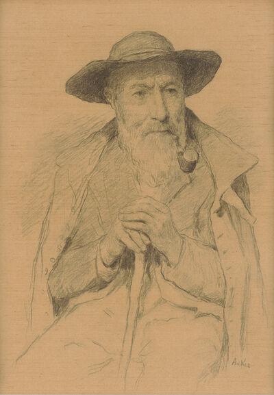 Albert Anker, 'Bildnis eines alten Mannes mit Tabakpfeife und Stock', not dated