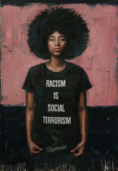 "Tim Okamura, '""Racism is social Terrorism""', 2019"
