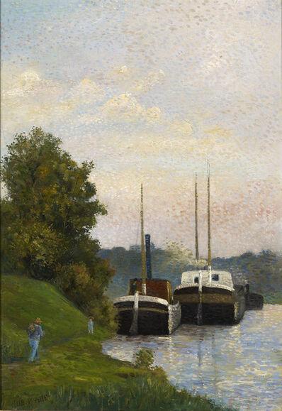 Albert Dubois-Pillet, 'Chalands sur la Seine', ca. 1884