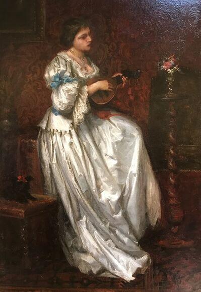 Ferdinand Victor Leon Roybet, 'Woman with mandolin', ca. 1880