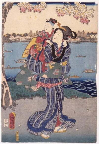Utagawa Kuniaki II, 'Viewing Cherry Blossoms at Mukōjima (Mukōjima Hanami No Zu)', 1862-3rd month