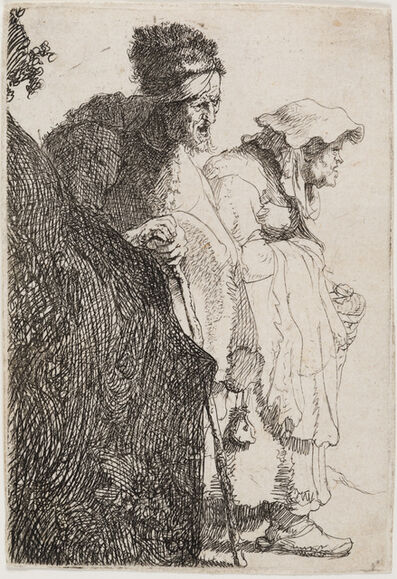 Rembrandt van Rijn, 'Beggar Man and Woman Behind a Bank', ca. 1630