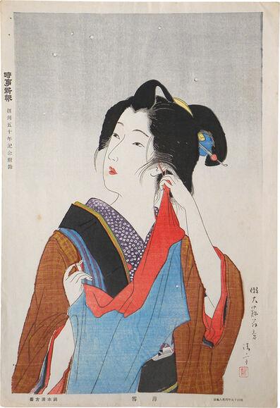 Kaburaki Kiyokata, 'Customs of Young Women: Beauty of the Fifteenth Year of Meiji [1882]: Light Snow', ca. 1932