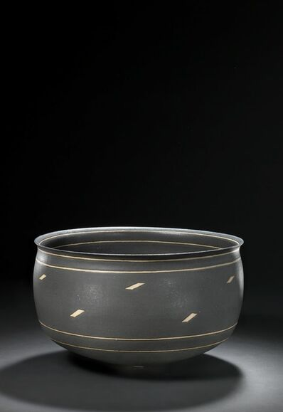 Alev Ebüzziya Siesbye, 'A large stoneware bowl decorated with matt black glaze. The inside and outside with unglazed geometric decor and lines.'