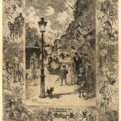 Félix Hilaire Buhot, 'La Fête nationale au Boulevard Clichy (National Holiday on the Boulevard de Clichy)', 1878