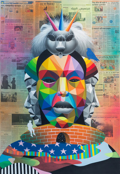 Okuda San Miguel, 'Warrior from Nowhere', 2016