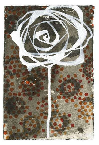 "Carol Bennett, '""Bad Ass Rose"" Acrylic painting on paper of a white rose with red dots in background', 2020"