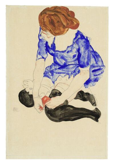 Egon Schiele, 'Woman in Blue Dress, Tying Her Garter', 1912