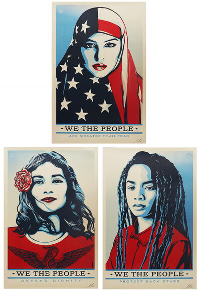 Shepard Fairey (OBEY), 'We the People (signed set of 3)', 2017