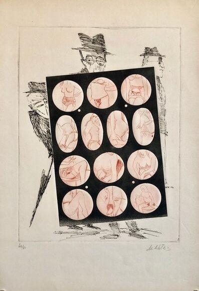Zvi Milshtein, 'Erotic Peep Holes Nude Vignettes French Israeli Surrealist Aquatint Etching', 20th Century