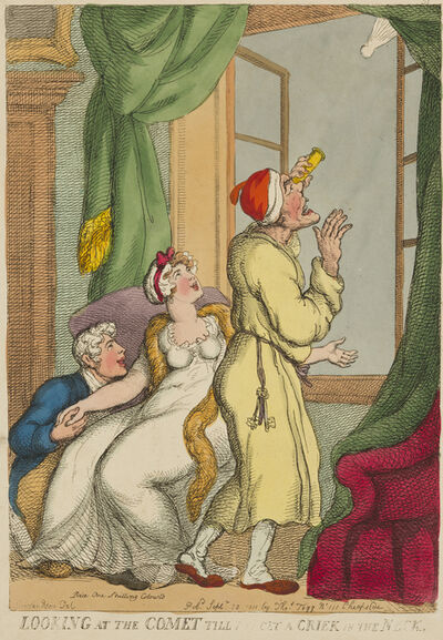 Thomas Rowlandson, 'Looking At The Comet Till You Get A Criek [sic] In The Neck', 1811