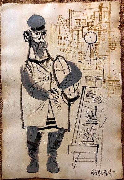 William Gropper, 'Jewish Butcher Americana Judaica Watercolor, Ink Painting WPA Artist', Mid-20th Century