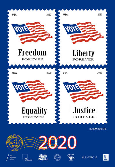 Rubem Robierb, 'Manhattan, New York Get Out The Vote Poster by  Rubem Robierb', 2020
