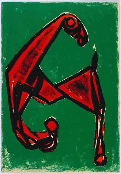 Marino Marini, 'Cheval rouge sur fond vert', 1955