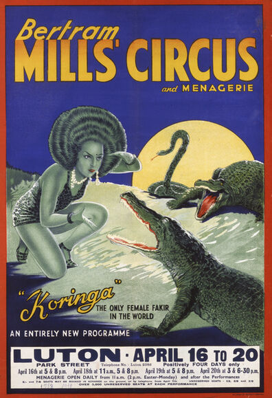 'Poster advertising Betram Mills Circus: Koringa. W. E. Barry Ltd. ', 1938