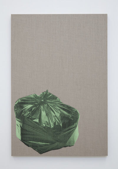 Gavin Turk, 'Bin Bag on Linen (Green)', 2018