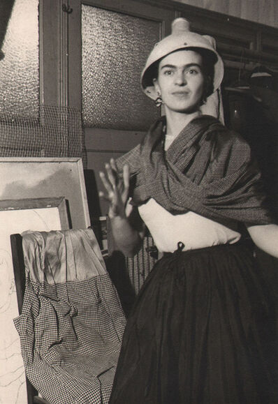 Lucienne Bloch, 'Frida acting clownish with lamp on her head, N.W. School, NYC', 1933
