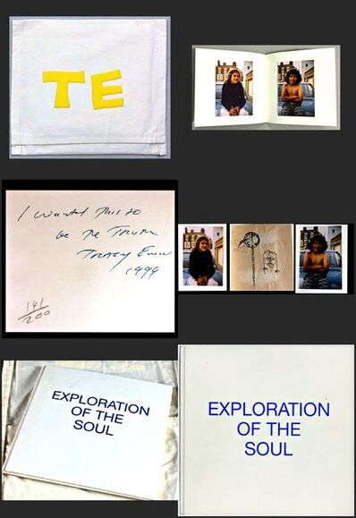 "Tracey Emin, 'Exploration of the Soul - Monoprint (unique) plus (2) photographs held in a limited edition hand signed and inscribed book, housed in a hand sewn bag. Provenance: From the Estate of Tim Hunt, (agent for the Andy Warhol Foundation) and collection of Tama Janowitz (bestselling author of ""Slaves of New York"" and Warhol pal)', 1994"