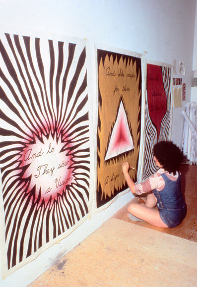 """Judy Chicago, 'Judy Chicago Designing the Entry Banners for """"The Dinner Party,""""', 1978"""