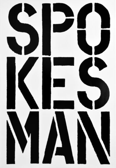 Christopher Wool, 'SPOKESMAN, page from the Black Book', 1989