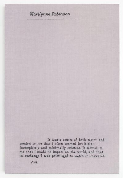 Elaine Reichek, 'Minimally Existent (Marilynne Robinson)', 2016