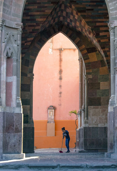 Larry Garmezy, 'Angel of San Miguel - Architectural photography, portrait photography, San Miguel de Allende, Mexico, with coral highlights.', 2019