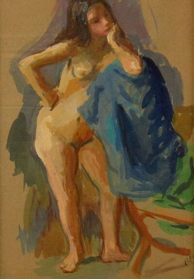 Robert Philipp, 'Nude with Blue Cloth', ca. 1970