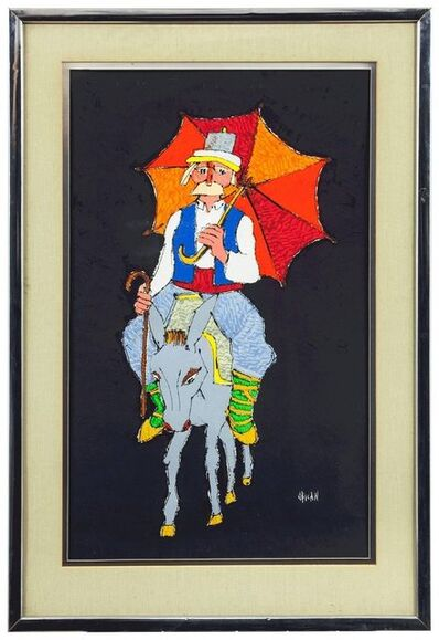 Jovan Obican, 'Bright Umbrella Donkey Ride, Acrylic on Paper', Mid-20th Century