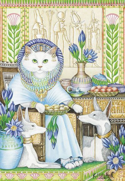 "Kathy Mitchell, '""The White Cat."" Story illustration for ""The White Cat,"" published in Once Upon A Cat edited by L. Savryn (New York: Grosset & Dunlap, 1983)'"
