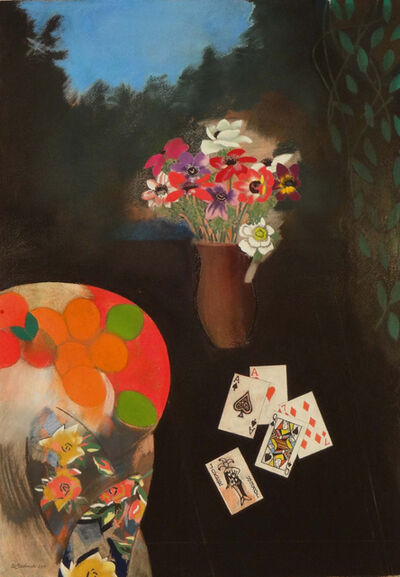 Walter Bachinski, 'Anemones in Brown Vase with Fruit and Playing Cards'